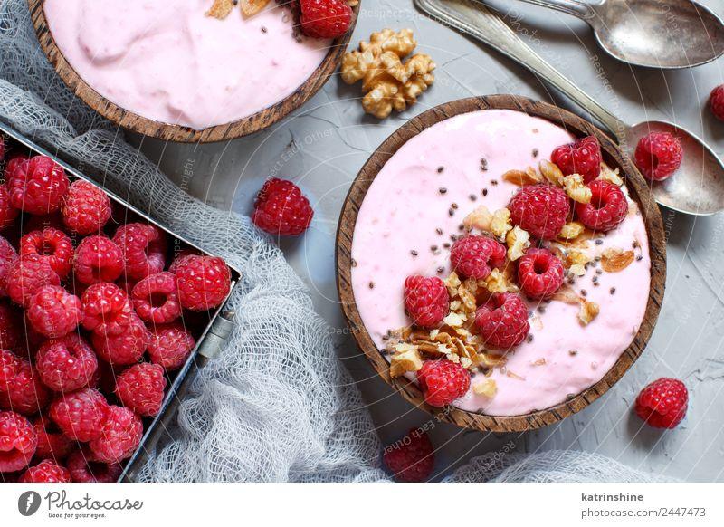 Raspberries smoothie bowls Summer White Red Pink Fruit Nutrition Fresh Breakfast Dessert Berries Bowl Diet Vegetarian diet Vitamin Spoon Vegan diet