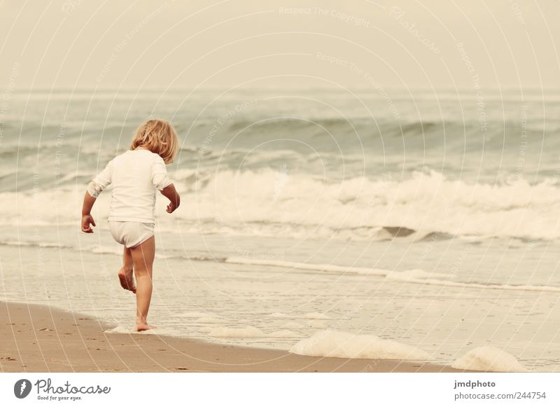 Human being Beach Ocean Vacation & Travel Cold Jump Happy Coast Waves Wet Trip Tourism Stand Infancy Touch Cute