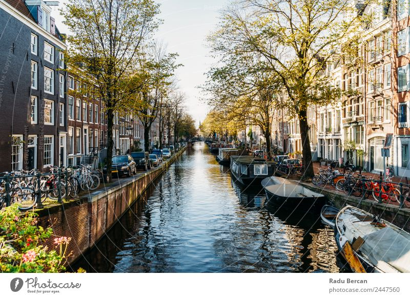 Dutch Houses and Houseboats On Amsterdam Canal In Autumn Sky Vacation & Travel Plant Town Colour Beautiful Water Landscape Tree House (Residential Structure)