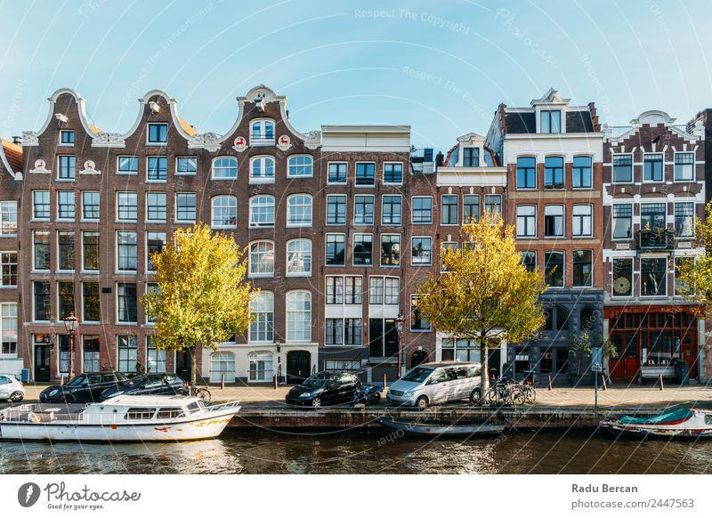Beautiful Architecture Of Dutch Houses and Houseboats Sky Vacation & Travel Blue Town Water Landscape House (Residential Structure) Window Street Autumn Style