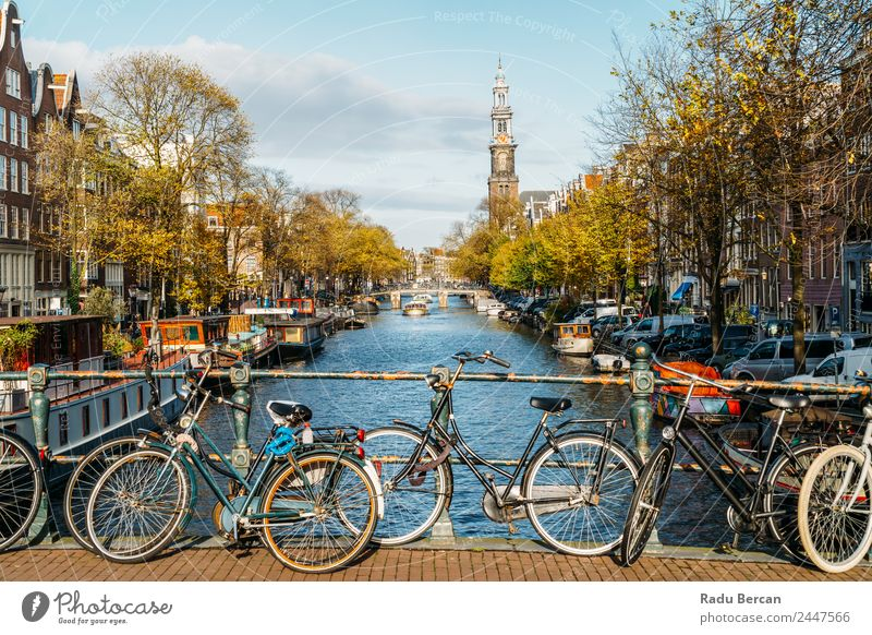 Architecture Of Dutch Houses and Houseboats On Amsterdam Canal Sky Vacation & Travel Summer Town Colour Water Landscape House (Residential Structure) Street