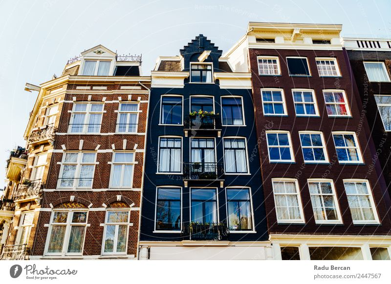 Beautiful Architecture Of Dutch Houses On Amsterdam Canal Sky Vacation & Travel Old Summer Town Colour House (Residential Structure) Window Autumn Style