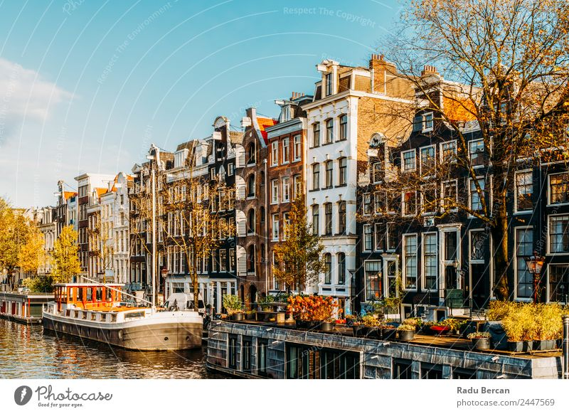 Beautiful Architecture Of Dutch Houses and Houseboats Sky Vacation & Travel Town Water Landscape House (Residential Structure) Street Autumn Environment Style