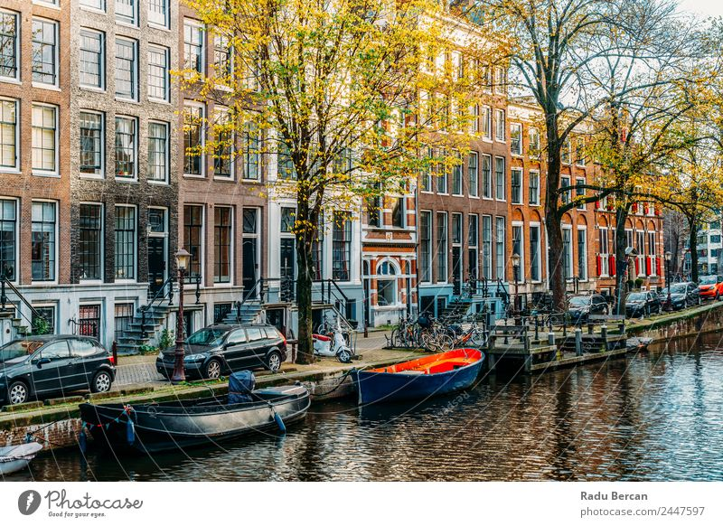 Beautiful Architecture Of Dutch Houses and Houseboats On Amsterdam Canal In Autumn canal Netherlands City House (Residential Structure) Famous building