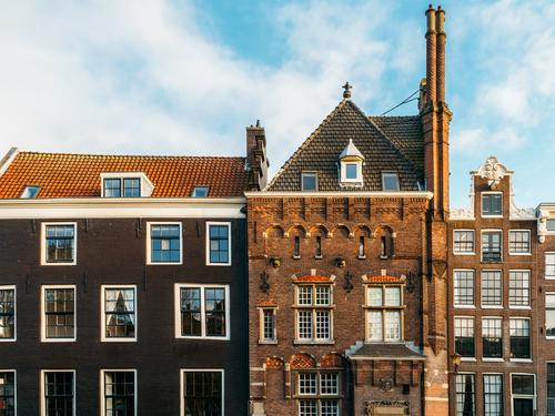 Beautiful Architecture Of Dutch Houses On Amsterdam Canal In Autumn Netherlands City House (Residential Structure) Famous building Vacation & Travel