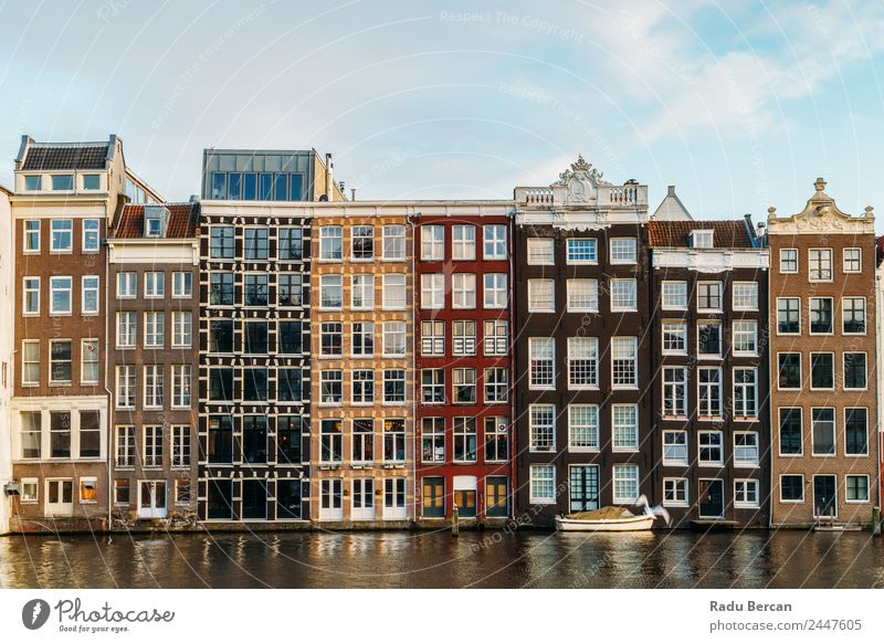 Beautiful Architecture Of Dutch Houses On Amsterdam Canal In Autumn canal Netherlands City House (Residential Structure) Famous building Vacation & Travel