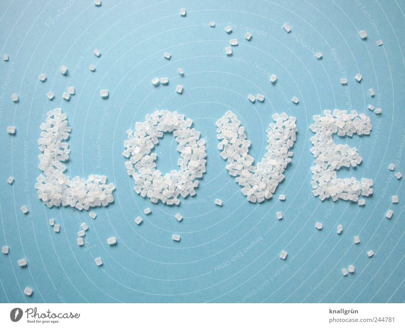 love Food Sugar crystals Nutrition Characters Communicate Bright Sweet Blue White Emotions Love Infatuation Word Creativity Colour photo Studio shot Deserted