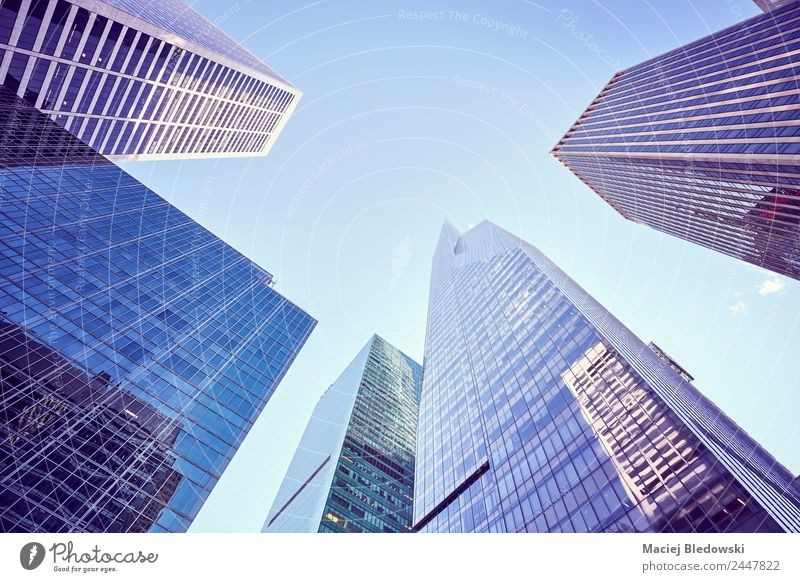 Looking up at New York skyscrapers, USA. Sky Architecture Building Office Modern High-rise Elegant Shopping Money Violet Sightseeing Bank building Luxury