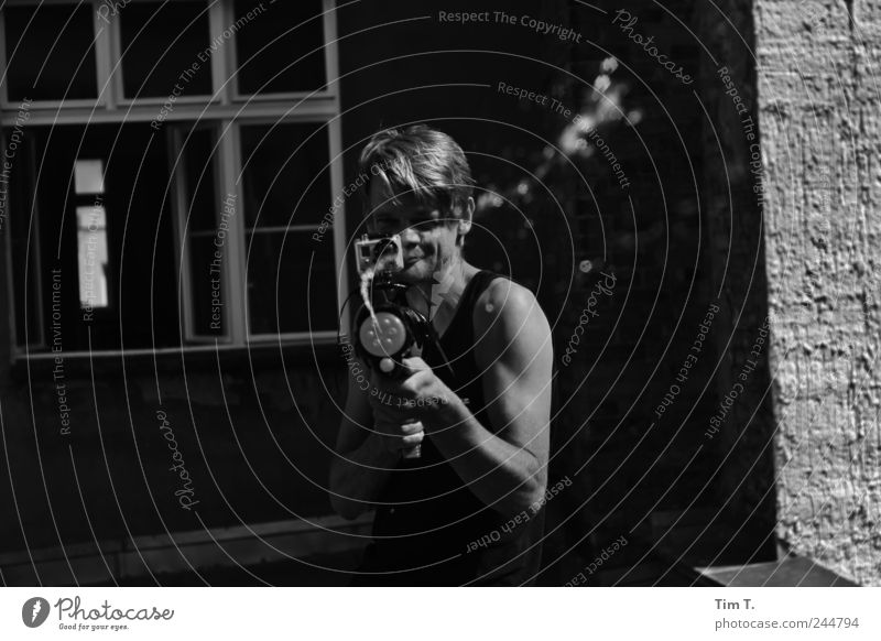 Human being Youth (Young adults) Joy Adults Playing Arm Masculine 30 - 45 years Young man Black & white photo