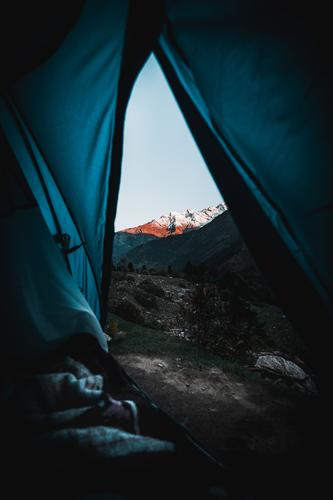 Camping In The Himalayas Sky Nature Vacation & Travel Blue Landscape Mountain Snow Tourism Freedom Orange Rock Trip Leisure and hobbies Hiking Horizon Adventure