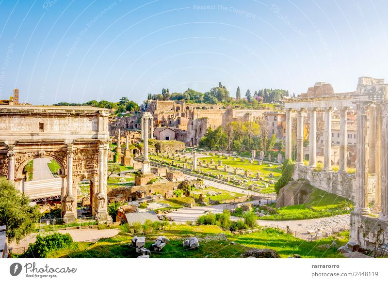 Roman Forum in Rome, Italy Lifestyle Vacation & Travel Tourism Sightseeing City trip Summer Sun Culture Landscape Sky Church Ruin Places Building Architecture