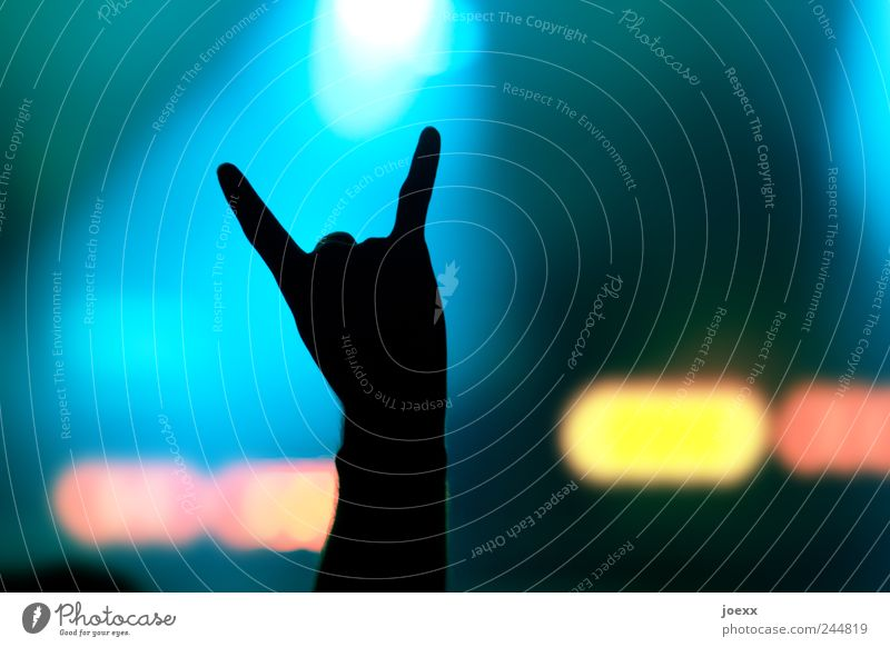 icon Joy Man Adults Arm Hand Fingers 1 Human being Concert Stage Sign Listen to music Cool (slang) Happiness Blue Yellow Red Black Moody Leisure and hobbies