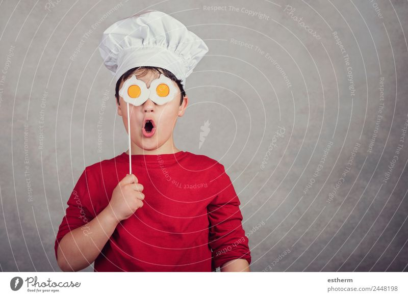 funny child with fried eggs in his eyes Child Human being Joy Eating Lifestyle Funny Emotions Laughter Boy (child) Food Masculine Nutrition Infancy Smiling
