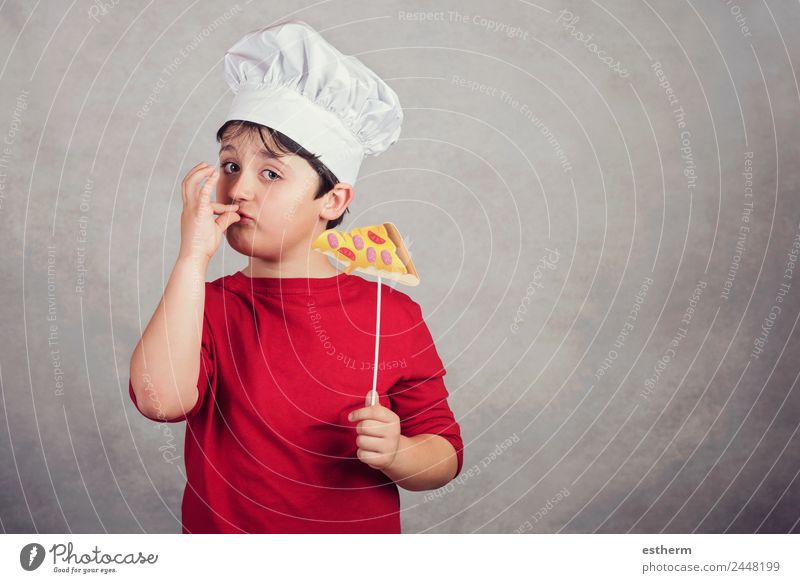 child funny cook with slice pizza Child Human being Joy Eating Lifestyle Funny Emotions Boy (child) Food Masculine Nutrition Infancy Fresh Happiness To enjoy