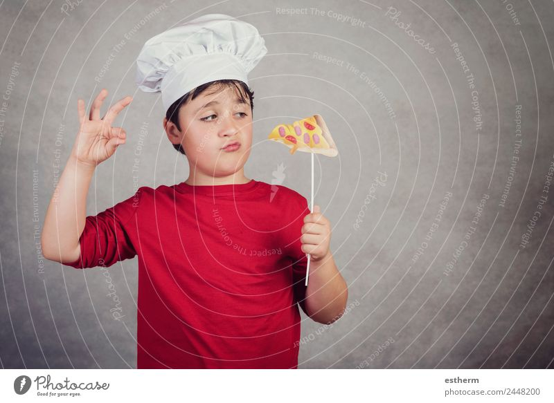 child funny cook with slice pizza Food Roll Nutrition Eating Lunch Fast food Finger food Italian Food Lifestyle Joy Human being Masculine Child Toddler