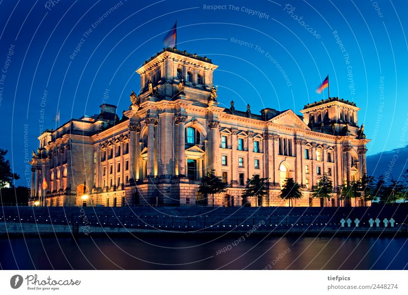 Reichstag Berlin Summer Night life Water River Skyline Building Architecture Tourist Attraction Landmark Blue Politics and state Spree Sunset Germany hri