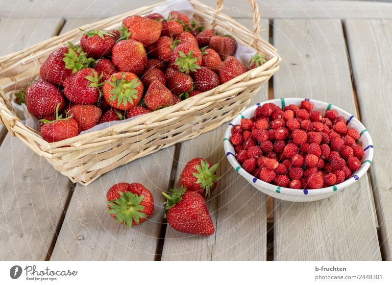 strawberry season Food Fruit Organic produce Eating Fresh Healthy Juicy Red To enjoy Wild strawberry Strawberry Fruity Table Basket Bowl Harvest Mature Summer