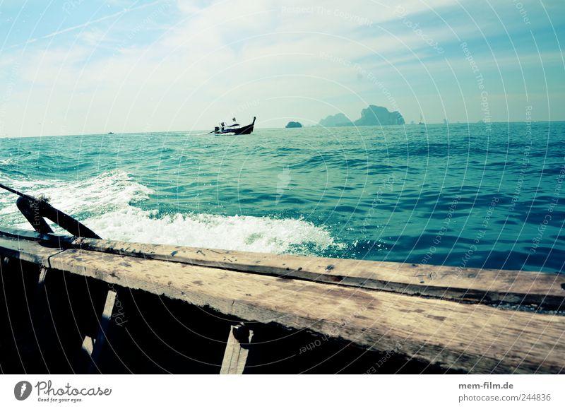 in longtailboat Thailand Longboat Longtail Krabi Water Ocean Blue Boating trip Asia Turquoise Wood