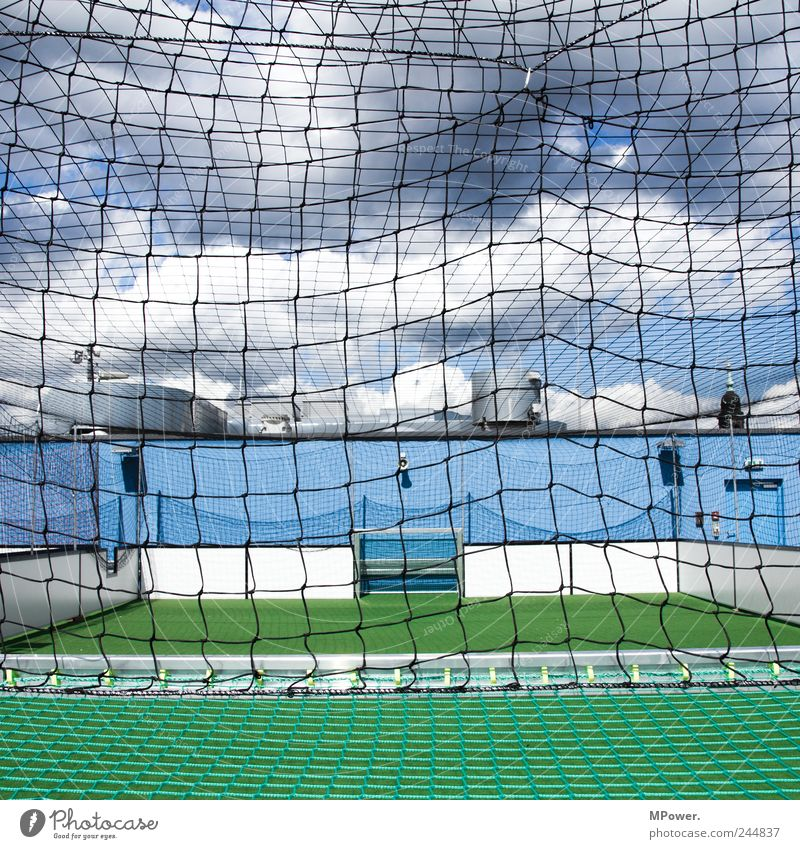 Blue Green Clouds Sports Playing Leisure and hobbies Soccer Net Square Goal Interlaced Stadium Football pitch Cage Ball sports Structures and shapes