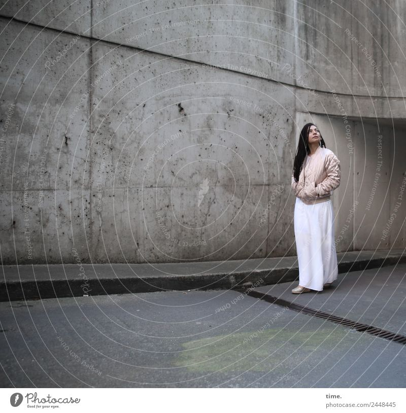 Nikoliya Feminine Woman Adults 1 Human being Tunnel Wall (barrier) Wall (building) Dress Jacket Brunette Long-haired Observe Going Looking Stand Dark Beautiful