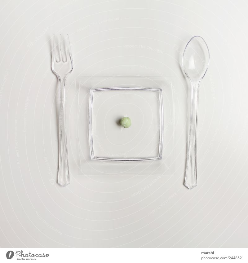 White Green Small Nutrition Food Plastic Vegetable Appetite Plate Diet Fasting Fork Spoon Isolated Image Emotions Cutlery