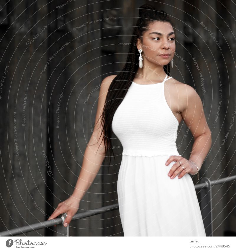 Nikoliya Feminine Woman Adults 1 Human being Wall (barrier) Wall (building) Bridge railing Dress Earring Brunette Long-haired Observe To hold on Looking Stand