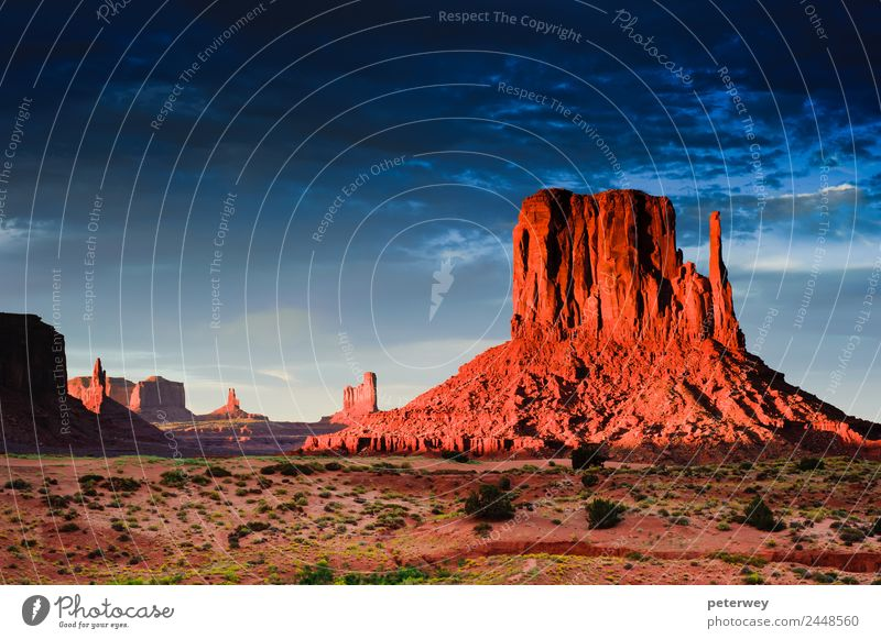 Monument Valley at sunset, Utah, USA Vacation & Travel Nature Sand Sun Park Canyon Moody America Arizona blue clouds countryside dark dawn desert dusky