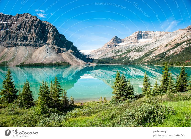 Bow Lake Panorama at the Icefield Parkway in Banff National Park Vacation & Travel Trip Summer Mountain Hiking Swimming & Bathing Nature Beautiful weather