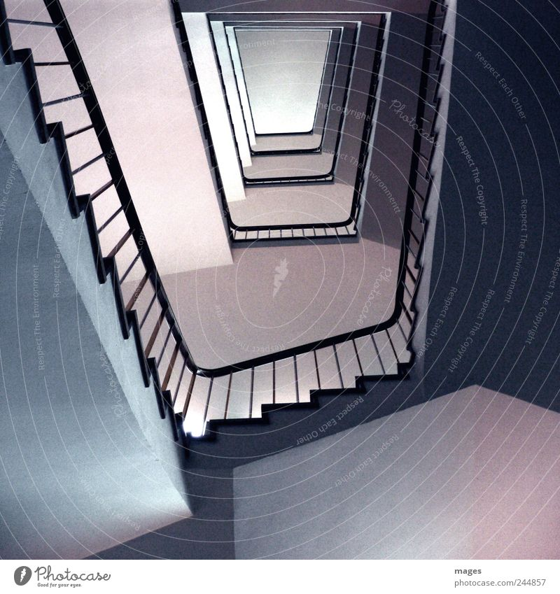 trapezes Deserted Building Architecture Stairs Concrete Old Sharp-edged Tall Calm Orderliness Staircase (Hallway) Go up Descent Banister Office building