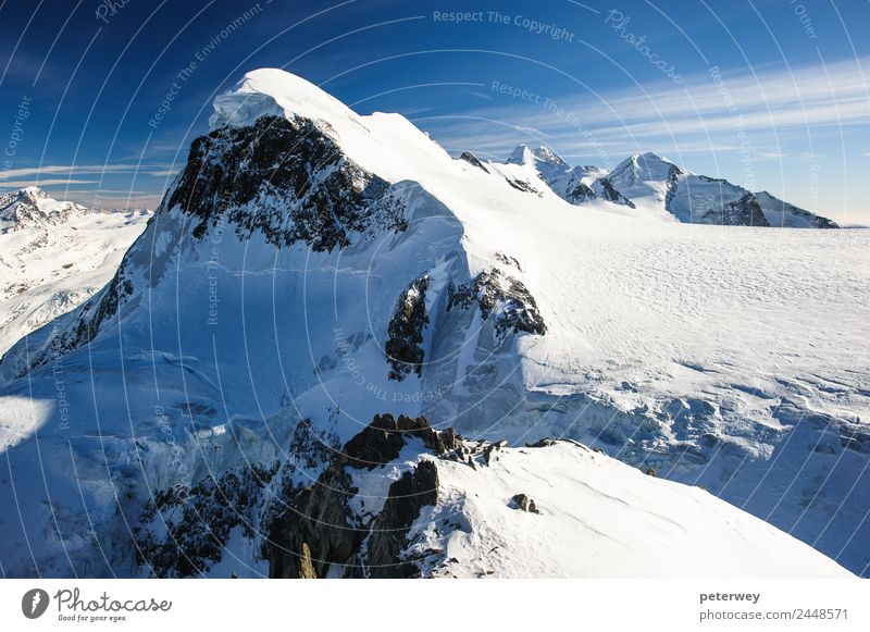 Breithorn mountain peak. View from small Matterhorn, Zermatt Trip Winter Nature Snow Alps Mountain Hiking Effort Alpine blue castor Glacier National park high