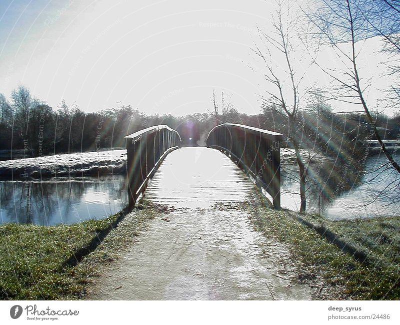 bridge Lake Bridge Landscape Nature Sun Sky