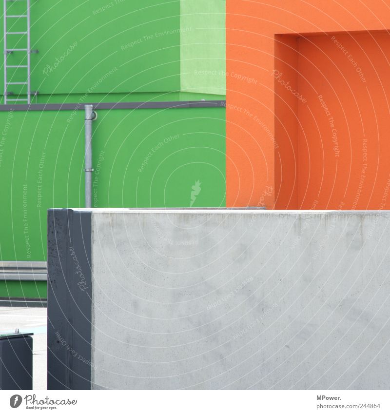 Angled Parking garage Architecture Wall (barrier) Wall (building) Gray Green Orange Ladder Iron-pipe Line Corner Whimsical Perspective Illusion Concrete wall