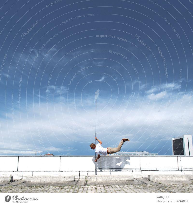 3600_Meditative Jump Fitness Sports Training Sportsperson Human being Masculine Man Adults 1 Pole-vault Roof Sky mental jump Jumping power Clouds Lightning rod