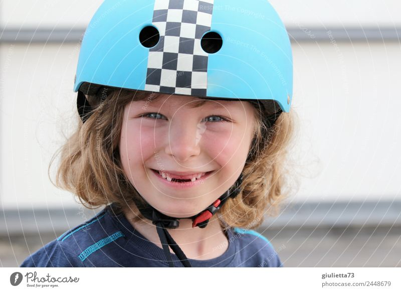 Cool gap | Portrait of a boy with a bicycle helmet and a tooth gap Child Boy (child) Infancy Teeth 1 Human being 3 - 8 years Helmet Bike helmet Blonde