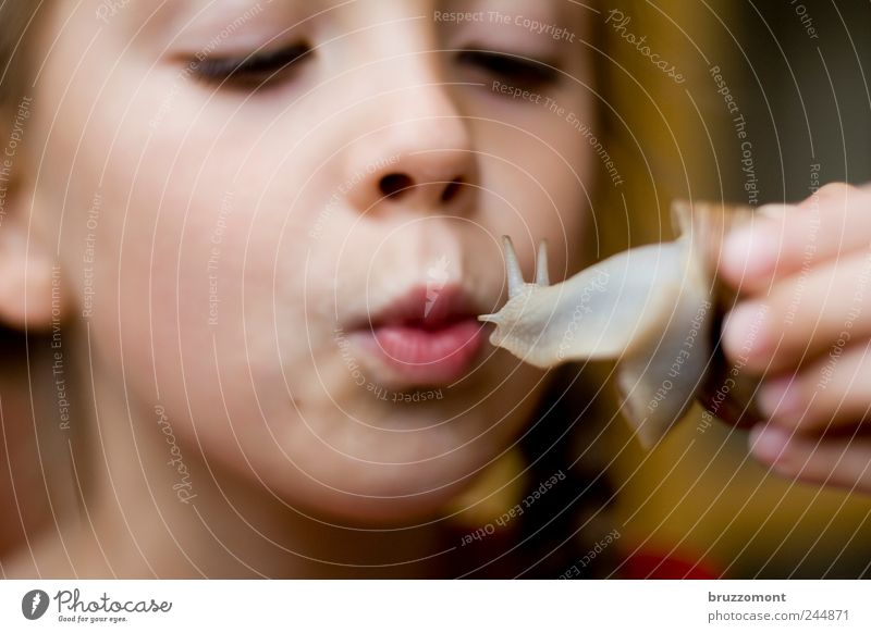 Summer of Love Human being Child Girl Infancy Life Face Mouth Lips 1 3 - 8 years Animal Snail Kissing Emotions Friendship Love of animals Vineyard snail Feeler