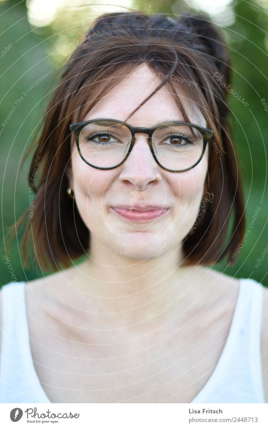 grin, glasses, dimples Feminine Young woman Youth (Young adults) Face 1 Human being 18 - 30 years Adults Piercing Eyeglasses Brunette Short-haired Smiling