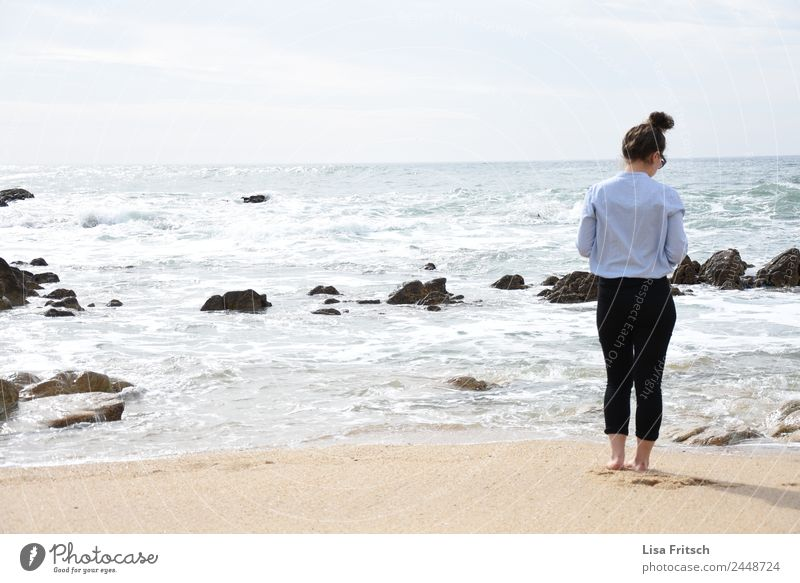 Beach, sea, woman with bun, Porto Feminine Young woman Youth (Young adults) 1 Human being 18 - 30 years Adults Nature Sky Spring Beautiful weather Rock Waves
