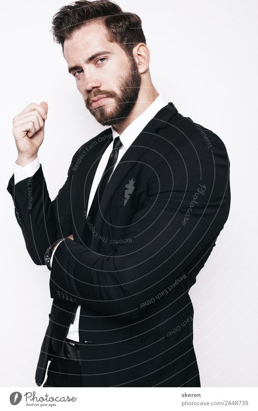 stylish guy with beard in business office suit Human being Youth (Young adults) Man Beautiful 18 - 30 years Adults Business Hair and hairstyles