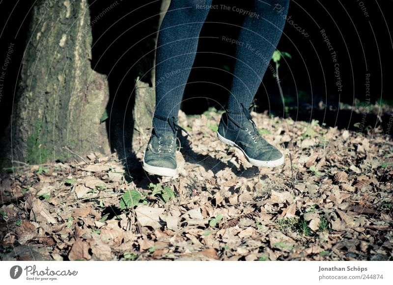 Leafhopper II Human being Girl Infancy Legs Feet 1 Nature Jump Hop Departure Hang Footwear Shoe sole Tights Autumn Autumn leaves Political movements Hover