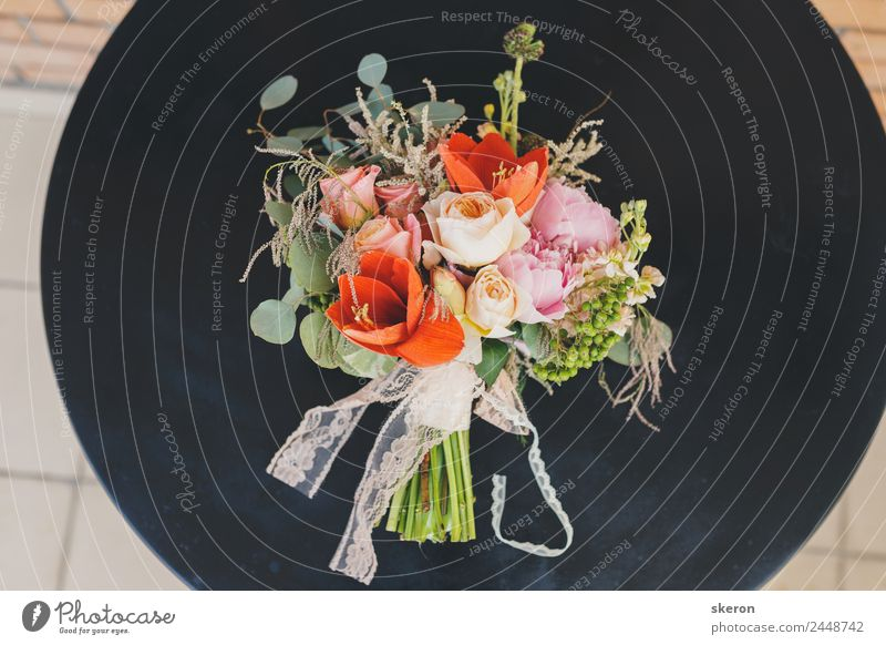 stylish wedding bouquet on the iron table Plant Colour Beautiful Green Flower Red Leaf Lifestyle Blossom Style Feasts & Celebrations Pink Design Bright Elegant