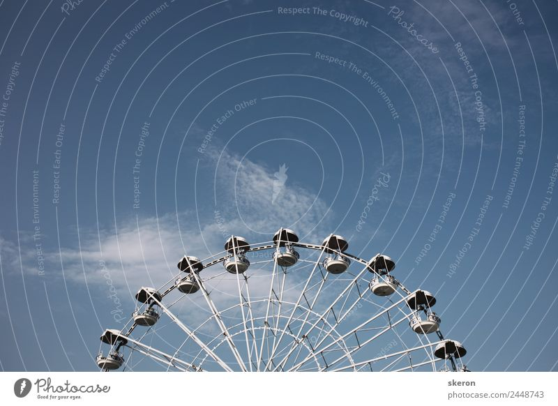 Ferris wheel against clear summer sky Sky Vacation & Travel Summer Blue Beautiful Clouds Lifestyle Spring Style Feasts & Celebrations Art Tourism Playing Trip