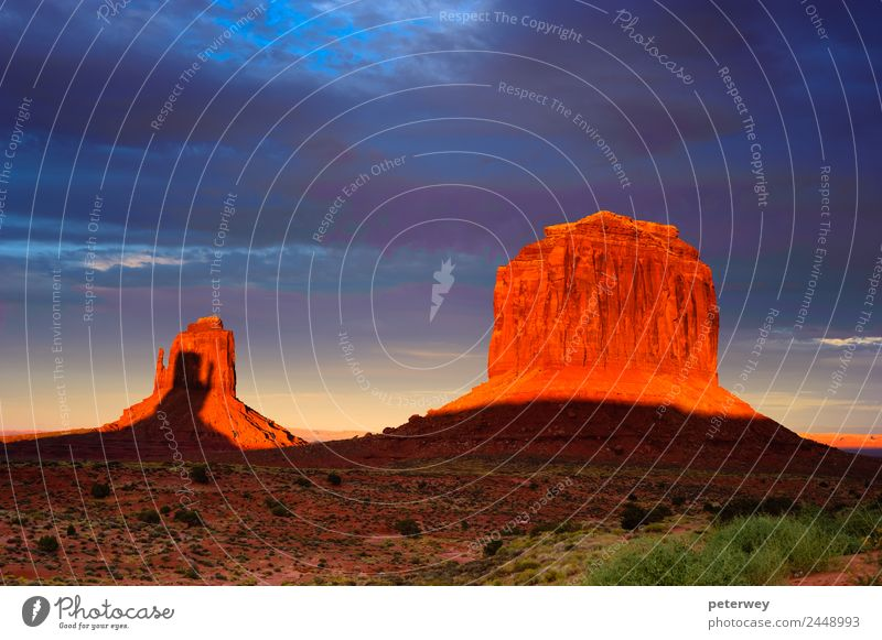 Monument Valley at sunset, Utah, USA Vacation & Travel Nature Landscape Sand Clouds Sunrise Sunset Park Field Hill Rock Canyon Tourist Attraction Blue Brown