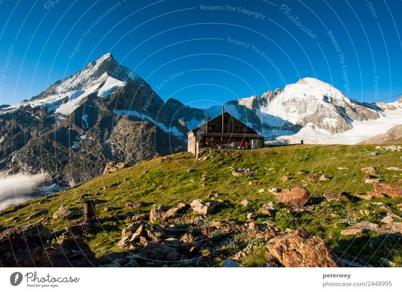 Panorama with Schoebiel SAC mountain hut and matterhorn Leisure and hobbies Vacation & Travel Tourism Trip Adventure Far-off places Freedom Summer Mountain