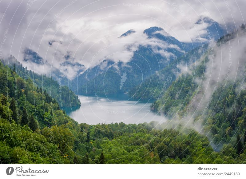 Lake Ritsa, Abkhazia Beautiful Relaxation Vacation & Travel Tourism Trip Summer Mountain Environment Nature Landscape Clouds Fog Tree Grass Park Forest Hill