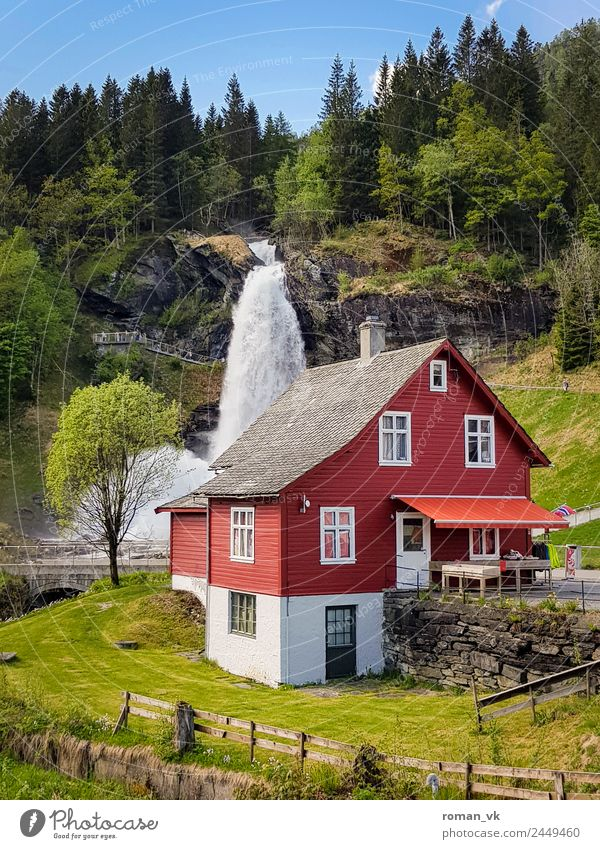 Steinsdalfossen in Norway House (Residential Structure) Dream house Environment Nature Landscape Plant Beautiful weather Forest Waterfall Living or residing
