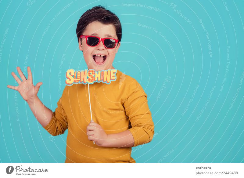 sunshine,funny child with sunglasses Child Human being Vacation & Travel Summer Sun Joy Lifestyle Emotions Laughter Boy (child) Tourism Trip Masculine Infancy