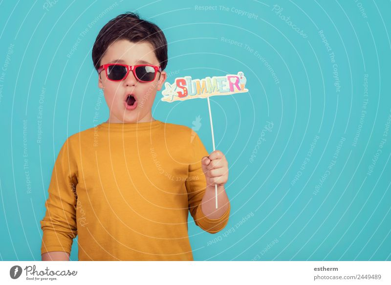 Summer,funny child with sunglasses Child Human being Vacation & Travel Joy Lifestyle Funny Emotions Movement Boy (child) Tourism Trip Masculine Communicate