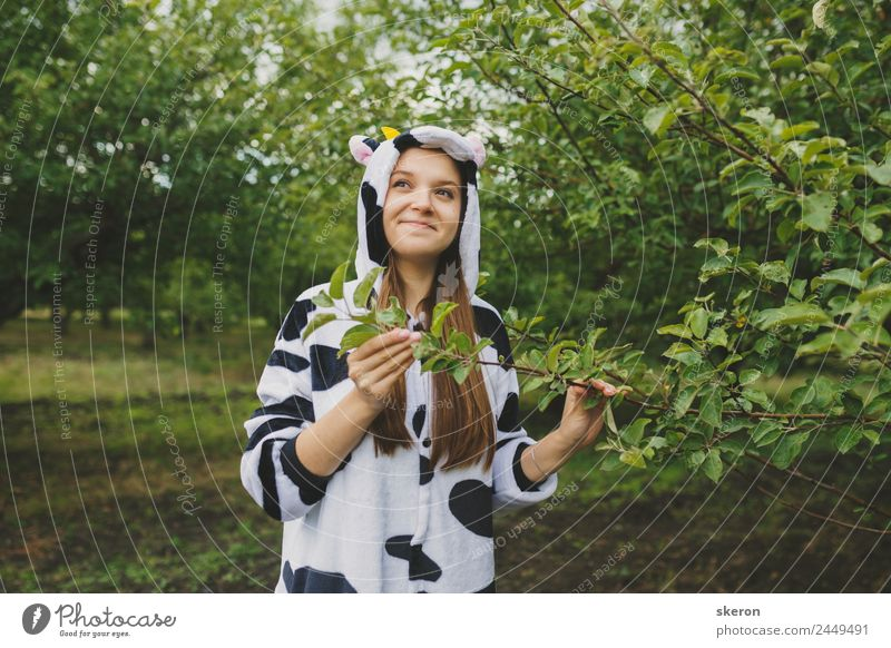 girl animator in cow pajamas near the tree Human being Vacation & Travel Nature Youth (Young adults) Young woman Landscape 18 - 30 years Face Adults Feminine