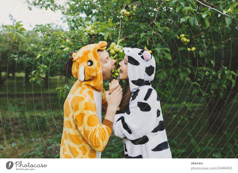 loving couple in the Park wearing pajamas Leisure and hobbies Playing Vacation & Travel Tourism Adventure Freedom Party Valentine's Day Human being Masculine