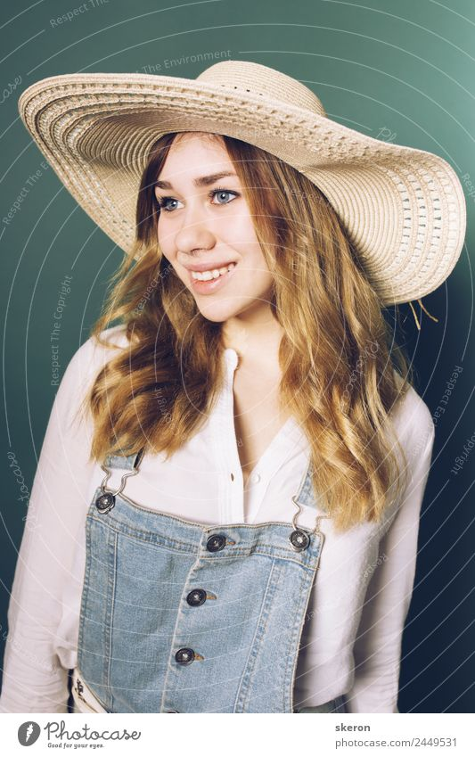 cute farmer girl in hat and denim jumpsuit Lifestyle Shopping Leisure and hobbies Vacation & Travel Tourism Trip City trip Summer Summer vacation House building